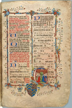 Decorated page from the Wollaton Antiphonal, MS 250 f. 155r