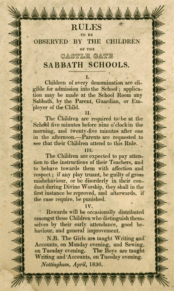 Rules of the Castle Gate Sunday School, 1836 (CU/Su 5/5/2)