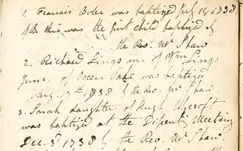 Extract from the earliest copy baptism register from the Old Meeting House, Mansfield, 1738-1739 (OL R 1)