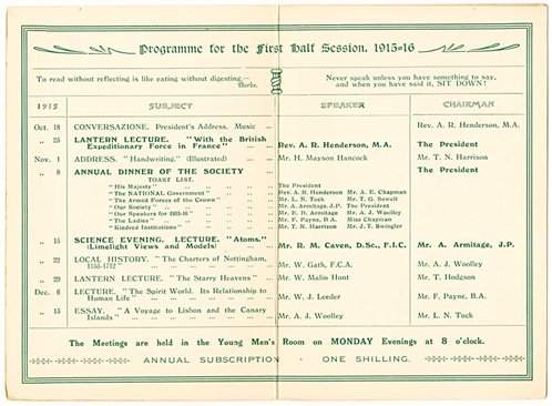 Programme of the Castle Gate Literary and Debating Society, 1915-1916 (from CU/So 1/14)