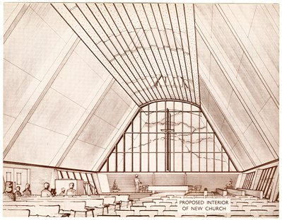 Proposed interior of new Clifton Congregational Church (never built) (CU/Z5/C/1)
