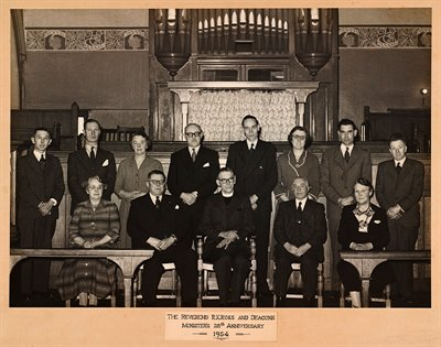 Photograph of Rev. R.K. Ross and the Deacons of St Ann's Well Road Congregational Church in 1954 (CU/Z1/P/1)