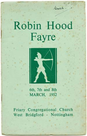 Front cover of programme for Friary Congregational Church's 'Robin Hood Bazaar', 1952 (Fy P 2/5/6)
