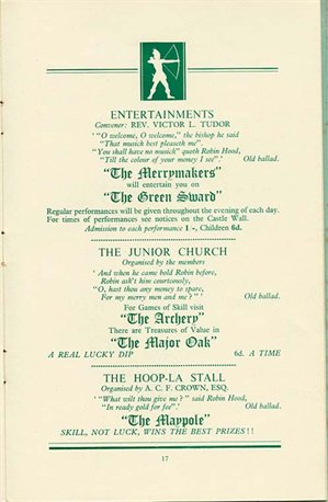 Page from the programme for Friary Congregational Church's 'Robin Hood Bazaar', 1952 (Fy P 2/5/6)