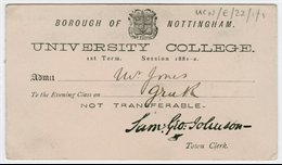 University College evening class admission ticket