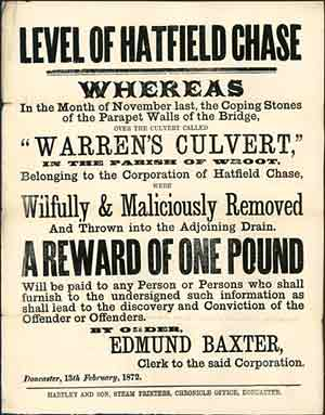 Handbill offering a reward of one pound for information