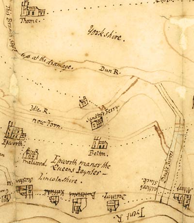 Detail of map drawn on paper, showing rivers, drains and banks