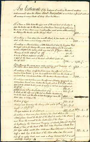Account of work required and costs, 'to have sufficient water at all seasons to carry Boats of Forty Tons Burthen'