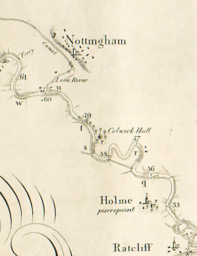 From a map showing the course of the River Trent, this small section shows the river between Nottingham and Ratcliff