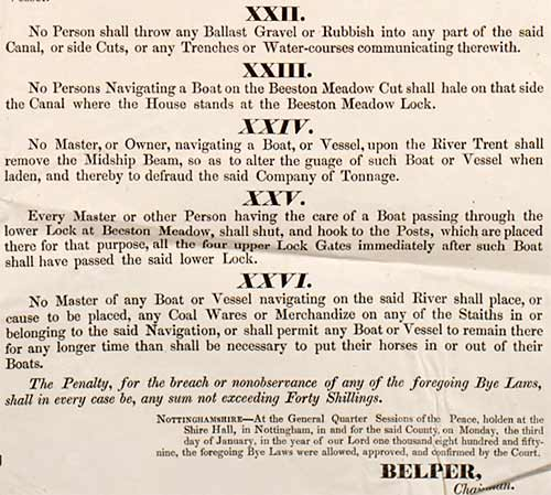 Detail of poster that shows Bye Laws 12 to 16, from a poster of 26 Bye Laws made in 1858