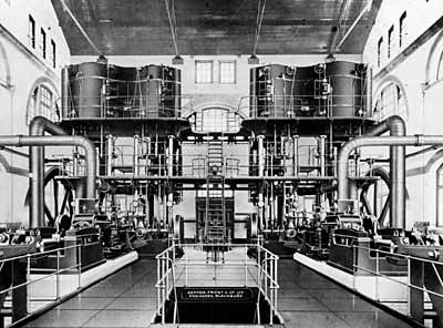 Photograph showing the interior of Boughton Pumping Station, early 20th century