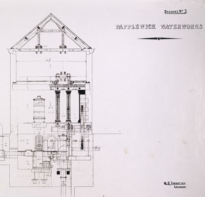 Detail from a photocopy of a plan of Papplewick Pumping Station, c.1884 (PPS/1/89)