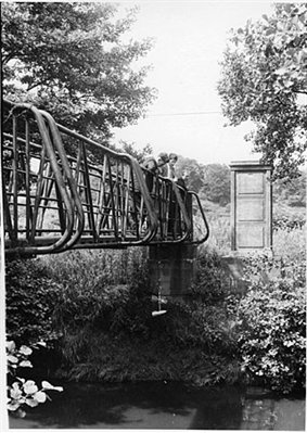 Hydrology gauging bridge on the river Churnet, Rocester, Staffordshire, 1961 (RE/DOP/H5/47)