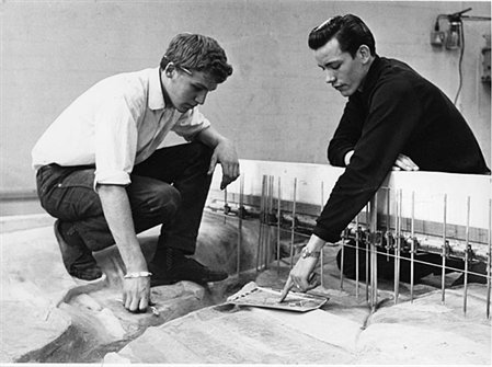 Technicians at work on a river model, 1968 (RE/DOP/H33/11)