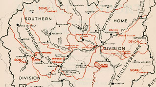 Detail from experimental catchment map showing Trent River Board divisions, published 1964 (RG/R/14)