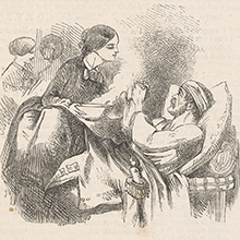 Illustration of Florence Nightingale helping a sick soldier