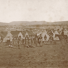 Photograph of soldiers in camp during the Crimean War