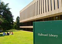 Photograph showing the exterior of Hallward Library