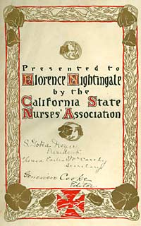 Dedication added to the Nurses' Journal of the Pacific Coast saying 'Presented to Florence Nightingale'
