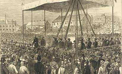 Illustration from the Illustrated London News showing Gladstone addressing a crowd at University College Nottingham