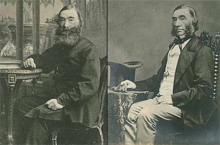 Two photographs of Druce, one with beard, one without.