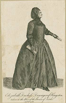 Engraving of the Duchess of Kingston