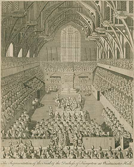 Engraving showing the duchess stood before the House of Lords
