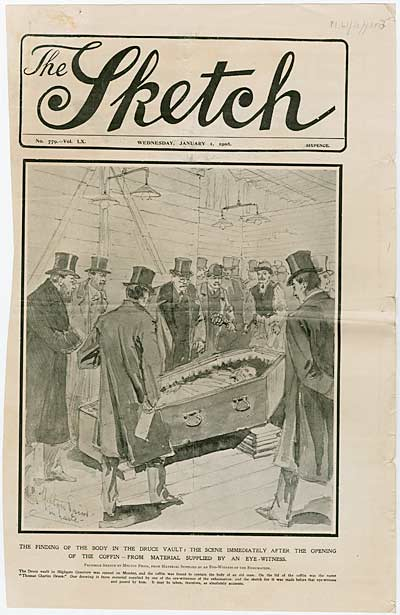 Front cover of 'The Sketch' with an illustration showing the opening of Druce's coffin