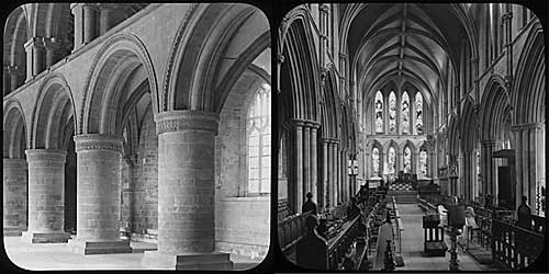 Two lantern slides showing the interior of Southwell Minster in the 1890s
