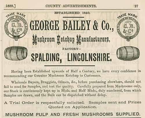 Advert for George Bailey and co, Mushroom Ketchup Manufacturers from Spalding, Lincs