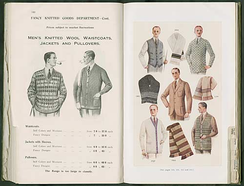 Advert for men's knitted wool waistcoats, jackets and pullovers