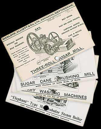 Product cards for the Three-roll Sugar Mill, the Sugar Cane Crushing Mill, the Elephant Type Steamer and Rotary Washing Machine
