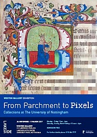 Exhibition poster for 'From Parchment to Pixels'