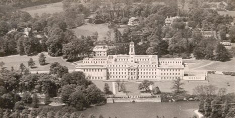 Black and white aerial photograph of University Park Campus
