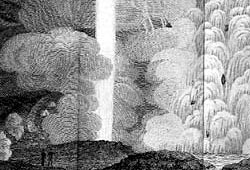 Black and white drawing of great clouds around a huge jet of steam
