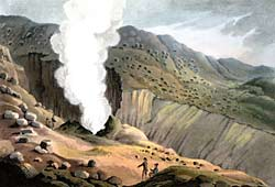 Colour illustration showing a couple of men standing near a jet of steam rising from the ground