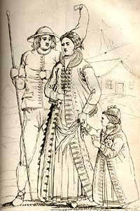 Illustration of Icelandic family formal dress, from 'Iceland; or the Journal of a Residence in that Island'