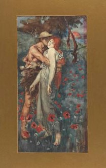 Watercolour copy by D.H. Lawrence of the painting 'An Idyll' by M. Greiffhagen, 1911