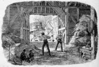 Photographic copy of an engraving of a threshing barn, 19th century