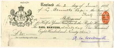 Pre-printed receipt showing Earl Manvers' crest, 1893