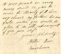 Part of a letter from Peter Rose applying to be tenant of the Dovecote Inn, 30 November 1874