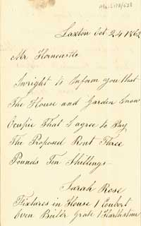 First page of letter from Sarah Rose describing her cottage, 1862