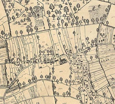 Detail from Mark Pierce's map of Laxton