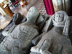 The effigies of Adam de Everingham (d 1341) and his two wives, in Laxton church