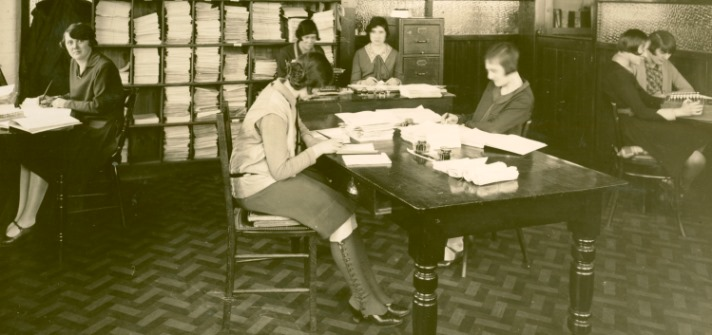 Photograph of the wages office at the Chilprufe Manufacturing Co., Chilprufe Mills, Leicester, 1929