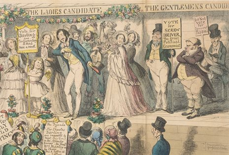 Detail from 'The rights of women – or the effects of female enfranchisement', by George Cruikshank, 1853. Fagan Collection of Political Prints, Pol P 57