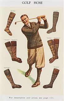 Illustration of a man posing with a golf club, surrounded by pictures of golfing socks.  From a price list for George Brettle & Co. Ltd, hosiery manufacturers.
