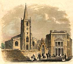 Colour illustration of St Peter's Church in Nottingham