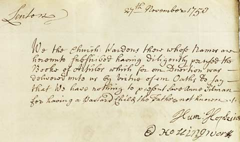 Presentment Bill referring to Anne Jilman from 1753