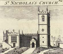 Illustration of St Nicholas's Church, published in 1751